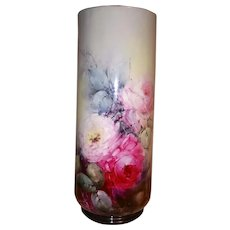 Limoges 14inch Vase ~ Hand Painted Roses ~ ca. early 1900 ~ Pristine