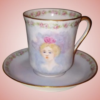 Limoges Portrait Cup ~ hand painted Victorian Lady ~ ca. 1882-1896 with artist initials
