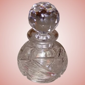 American Brilliant Period Cut Glass Perfume Numbered Top and Bottom ca. 1886-1915