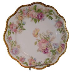 Haviland Limoges Hand Painted Enameled Roses with Gold Coin ca. 1876 to 1900