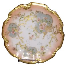 Limoges Plate 100+ years  ~ Hand Enameled Florals with Heavy Gold Coin ~  ca 1891-1907 ~ Excellent