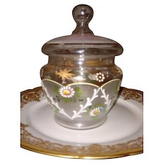 Bohemia Moser Glass Vanity Dresser Jar ca. 1890's - turn of the century ~ Victorian era ~ Hand Enameled Florals~