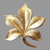 Signed Trifari Vintage Leaf Pin