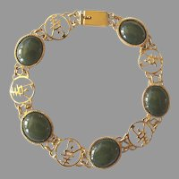 Very Dainty Vintage Bracelet with Green Glass Stones