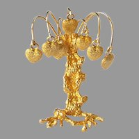 Rare Vintage Signed DeNicola 3D Tree with Hanging Hearts Brooch