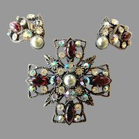 Vintage Selro Signed Large Brooch/ Pendant & Earrings