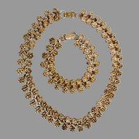 Old Crest Bench Made This Gold Filled Necklace & Bracelet, c. 1947