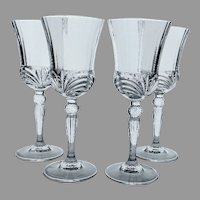 Vintage Royal Crystal Rock Crystal Wine Glass Set Made in Italy