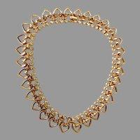 Vintage Trifari Signed Heart & Rhinestones Choker Necklace