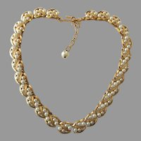 Vintage Signed Trifari Choker Necklace With Faux Pearls