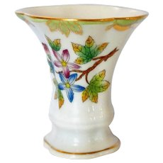 "Tiny Little Posey Vase Signed Herend in ""Queen Victoria"" Pattern Highly Collectible Porcelain"