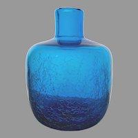 Blenko Mid Century Modern Blue Crackle Glass Vase, c. 1960's