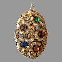 Huge Vintage Brass Pendant Necklace
