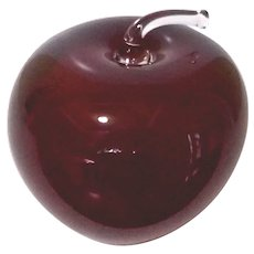 Vintage Signed Deep Red Glass Apple Paperweight