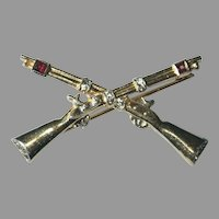 Rare Crown Trifari Signed Gold Washed Sterling Crossed Rifles Brooch