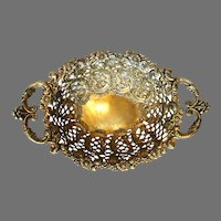 Intricately Designed Solid Brass Fruit Bowl, Italy, c. 1950's