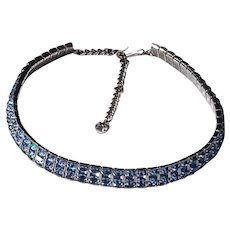 Sparkling Blue Prong Set Square Rhinestones in This Choker Necklace