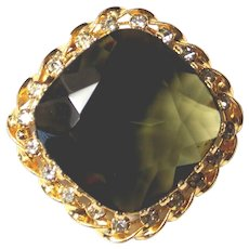 Beautiful Classic Brooch With Rhinestones and Heavily Prong Set Multi-Faceted Huge Glass Stone Austria