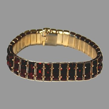 Stunning Gorgeous Deep Red Rhinestone Tennis Bracelet