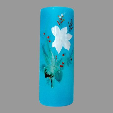 Blue Opaline Glass Straight Vase Hand Painted