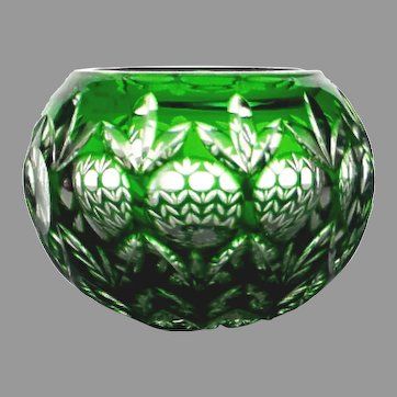 Vintage Green Cut to Clear Handcrafted Votive Candleholder Over 24% Lead Crystal