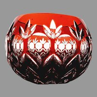 Red Cut to Clear Votive Candle Holder Over 24% Lead Crystal by Godinger