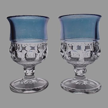 Kings Crown Pattern Glass with Blue Flashed Top Set of Two