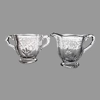 Fostoria Pattern Glass Individual Cream & Sugar Set with Navarre Etch