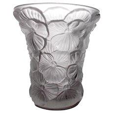 Vintage Czech Crystal Artglass Pansy Vase Joseph Inwald for Boralac, c.1930's