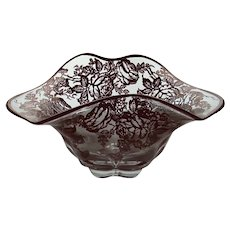 """Duncan Miller """"Cantebury"""" Pattern Crimped Serving  Bowl Decorated with Silver Roses, c. Pre 1955"""