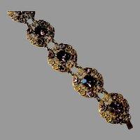 One of a Kind Brass Bracelet With Magnificent Deep Purple Stones, c. 1940's