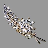 3 1/2 Inch Long Signed Trifari Rhinestone Floral Spray Brooch