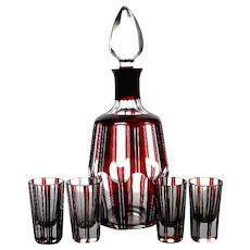 Czech Karl Palda Bohemian Ruby Red Cut to Clear Whiskey Decanter Set, c. 1930's