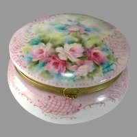 Vintage China Hand Painted Dresser / Jewelry Box with Brass Trim