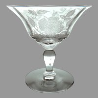"""Morgantown Pattern Glass """"American Beauty"""" Fine Crystal Champagne / Sherbet Etched with Roses, c. Pre 1931"""