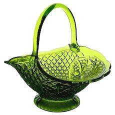 "Indiana Glass Company ""Cantebury"" Brilliant Pressed Green Glass Basket"