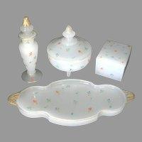 Beaumont Glass Opaline Ferlux Clambroth 4 Piece Dresser Set Chintz Decoration, c. 1920-1930