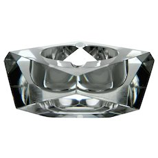 1960's -1970's Heavy Blown Hand Made Multi Faceted Cut Crystal Ashtray