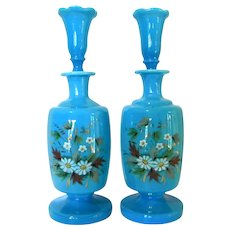 Antique Hand Painted Opaline Glass Scent Bottles Original Stoppers *Set of Two*