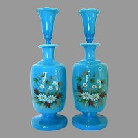 Set of Two Antique Hand Blown Hand Painted Opaline Glass Scent Bottles Original Stoppers