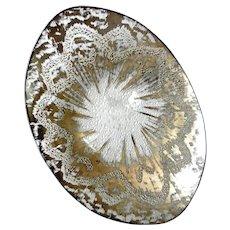 "Dorothy Thorpe ""Atomic Splash"" Textured Crystal Tray Sterling Silver Overlay"