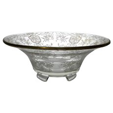 """Indiana Glass Centerpiece Bowl, Decorated by Glastonbury-Lotus with """"Bridal Bouquet"""". c. 1930-1940"""