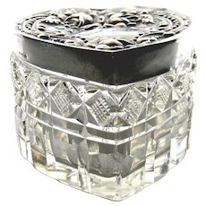 Hand Cut Heart Shaped Dresser Jar / Box With Sterling Silver Top