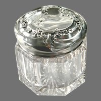 Vintage Glass Vanity Jar with Decorated Sterling Silver Top