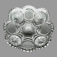"EAPG US Glass ""The States"" aka ""Cane & Star Medallion"" Serving Bowl, c. 1905 - 1908"
