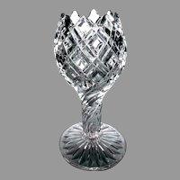 """EAPG O'Hara Glass """"Diamond Bar & Block"""" Stemmed Rose Bowl Vase, c. 1890"""
