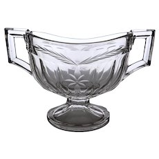 """Heisey """"Narrow Flute"""" Pressed Pattern Glass Two Handled Footed Hotel Sugar Bowl"""