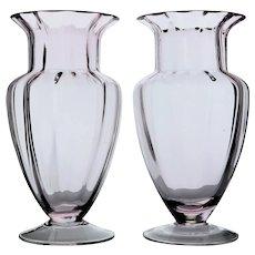 Vintage Pair of Blown Glass Mantle Vases Beautiful Pale Pink Color