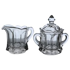 """Imperial Glass """"Old Williamsburg"""" Creamer & Covered Sugar, c. 1959 - 1982"""