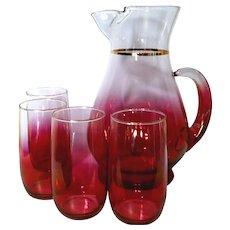 Mid Century West Virginia Glass Blendo Rose Glow Ombre Lemonade Set 1960's